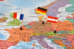 Map of the Western Europe countries Germany, France, Austria. Flags of the Western Europe countries Germany, France, Austria on a map. Concept image - leader Stock Photos