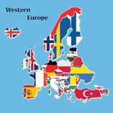 Map OF Western  Europe Isometric Flag  Vector Illustration royalty free illustration