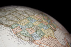 Map of western United States. As seen on a globe Royalty Free Stock Photo