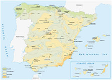 Map of wet and dry areas in spain Royalty Free Stock Photography