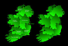 Map of the whole Ireland with regions. A map of the whole Ireland with the regions on the continent colored in green and the main cities Stock Image