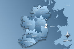 Map of the whole Ireland with regions Royalty Free Stock Images