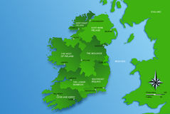 Map of the whole Ireland with regions Stock Photography