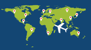 Map wiith aircraft and pin. Green world map with white aircraft and pin Royalty Free Stock Image