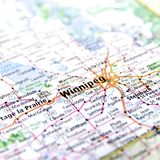 Map of Winnipeg in Canada. Map of Winnipeg in Manitoba, Canada Royalty Free Stock Image