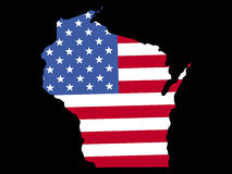 Map of Wisconsin with flag Stock Photos