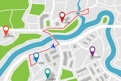 Free Map With Route And Gps Pointers Royalty Free Stock Photo - 99829355