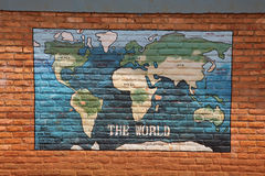 Map of the world. Painted on the wall of a school stock images