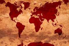 Map of the world. On old paper Stock Image