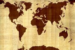 Map of the world. On papyrus Stock Images
