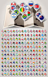 Map world 192 markers with flags Royalty Free Stock Photography