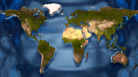 Map of the world. Map  of the world on the water Royalty Free Stock Photo