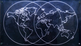 Map of the world. Plexiglass with led illiumination Stock Images