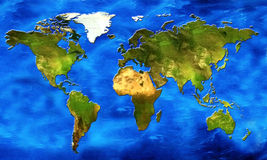 Map of the world. Chart of the world its continents and oceans in relief Stock Photos