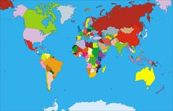 Map of world. Color map of the world on the blue background Royalty Free Stock Image