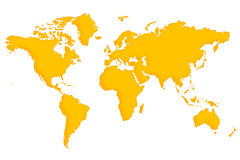 A map of the world. Simple shape of the world map Royalty Free Stock Photos