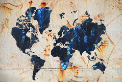 Map of the world. Grunge Texture with map of the world Stock Image