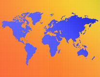 A map of the world. Consisting of blue, yellow and orange dots Stock Photo
