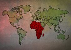 Map of the world With Africa highlighted. For use as a background or wallpaper stock photography