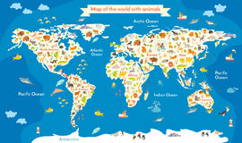 Map of the World with animals. Beautiful colorful vector illustration with the inscription of the oceans and continents. Preschool, for baby, children, kids