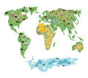 Map of  world with animals and trees. Geographic map of  globe w. Ith flora and fauna. Conditional cartoon kids map with bears and kangaroos. World map with Royalty Free Stock Photography