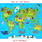 Map of the world with animals. Vector illustration, eps vector illustration