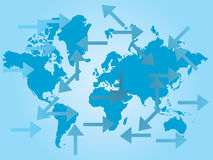 Map of the world and arrows. In many directions Stock Photography
