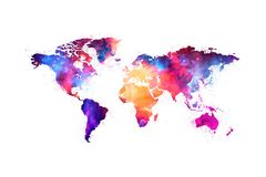 Map of the world artistic colorful nebula space design royalty free stock photos
