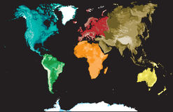 Map of the world on a black. Stock Photos