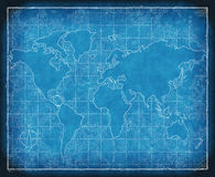 Map of the world blueprint. An old map of world on blueprint grid paper Royalty Free Stock Images