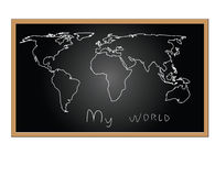 Map of world on board Stock Photography
