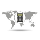 Map world business calculator design Royalty Free Stock Images