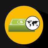 Map world business stack bills design. Vector illustration eps 10 royalty free illustration