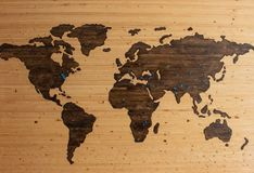 Map of the world carved on wood with blue dots placed around vector illustration