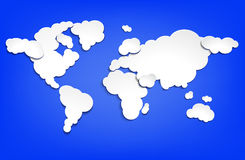 Map of the world from clouds. Royalty Free Stock Photo