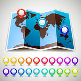 Map world with colorful pin pointers location. Vector illustration 10eps Royalty Free Stock Photo