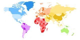Map of World. Colorful vector map of World. Different colors of each continent Stock Photo