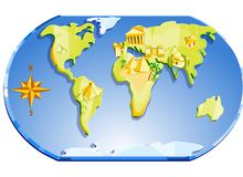 Map Of The World And Compass. Illustration. Map of the world with famous landmarks and compass stock illustration