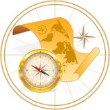 Map of the world and compass Stock Image