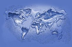 Melting Ice World. Map of World with Continents in Melting Ice surrounded with droplets and puddles Royalty Free Stock Photography
