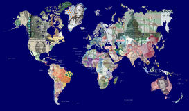 Map of the world in currencies. Detailed map of the world in all the worlds currencies. Each country is represented with one of its most recently issued stock photo