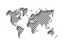 Map of World cut into paper with inner shadow isolated on dotted background. Vector illustration with 3D effect.  Royalty Free Illustration