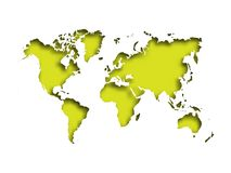 Map of World cut into paper with inner shadow isolated on green background. Vector illustration with 3D effect.  Royalty Free Stock Photo
