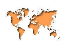 Map of World cut into paper with inner shadow isolated on orange background. Vector illustration with 3D effect.  Stock Photos