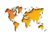 Map of World cut into paper with inner shadow isolated on orange gradient background. Vector illustration with 3D effect.  Stock Photos