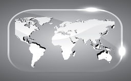 Map World 3D. Beautiful 3D map world vector illustration in glass Stock Photography