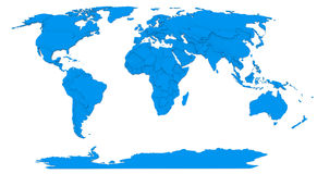 Map of the world. 3d modeled map of the world with different heights of states Royalty Free Stock Photography