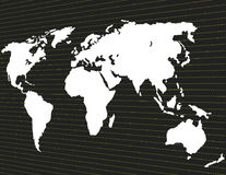 A map of the world on a dark background in perspective Royalty Free Stock Photos
