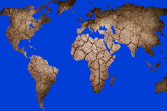Map of the world. Dry landscape in the shape of the world map Stock Photo