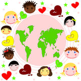 Map of the world , faces of children. Of different races and hearts Royalty Free Stock Images